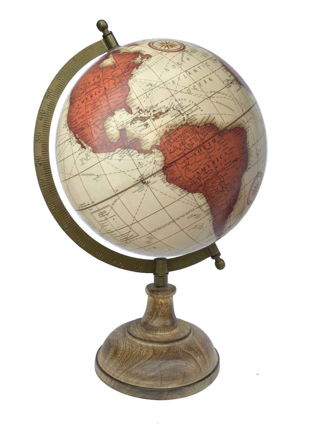 Home Decor Vintage Brick Red World Globe with Wooden Base and Brass Finish Arc Gift Item Educational Globe Antique Globe Brick Red by Globes Hub Political Globe