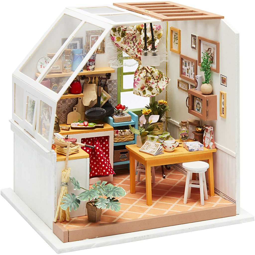 DIY-Miniatur-Zimmer, Küche, H 18,7 cm, B 19 cm, 1Stck, Tiefe 16,5 cm ...