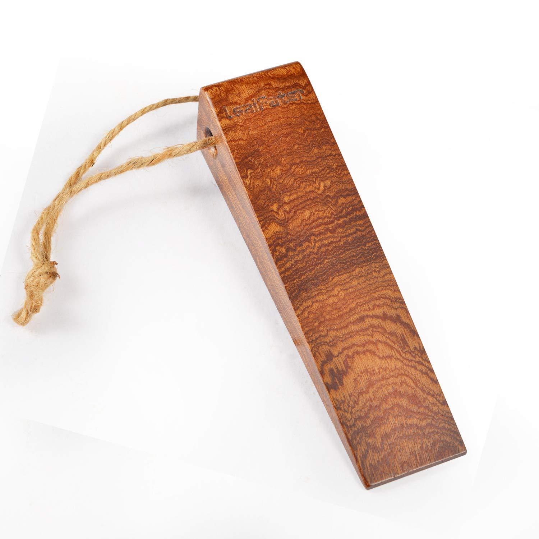 Security Large Soild Wood Door Stopper Non-Slip Door Stops with Premium Heavy Duty 1 Piece, Walnut