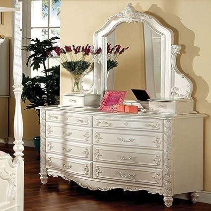 Amazoncom Furniture Of America Cm7519d Victoria Pearl White