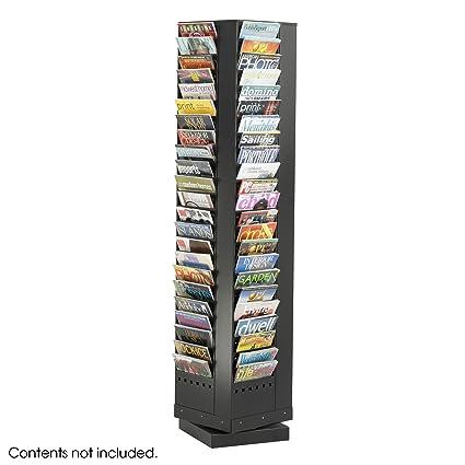 Safco Home Office 92 Pocket Steel Rotary Magazine Rack Black