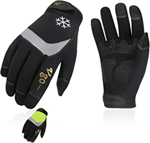Vgo 2Pairs 32℉ or Above 3M Thinsulate C40 Lined High Dexterity Touchscreen Synthetic Leather Winter Warm Work Gloves,Waterproof Insert (Size XL, Black+Fluorescent Green,SL8775FW)