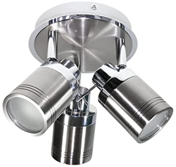 Directional 3 Head Round Plate Fitting Chrome And Brushed Chrome Ip44 Rated