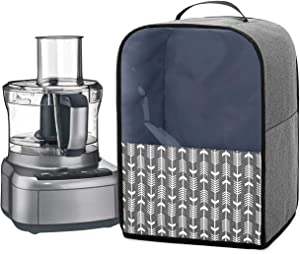 YarwoFood Processor Dust Cover with Pockets and Top Handle, Compatible with Hamilton Beach, Cuisinart 7-10 Cup Food Processor, Gray with Arrow (Cover Only, Patent Pending)