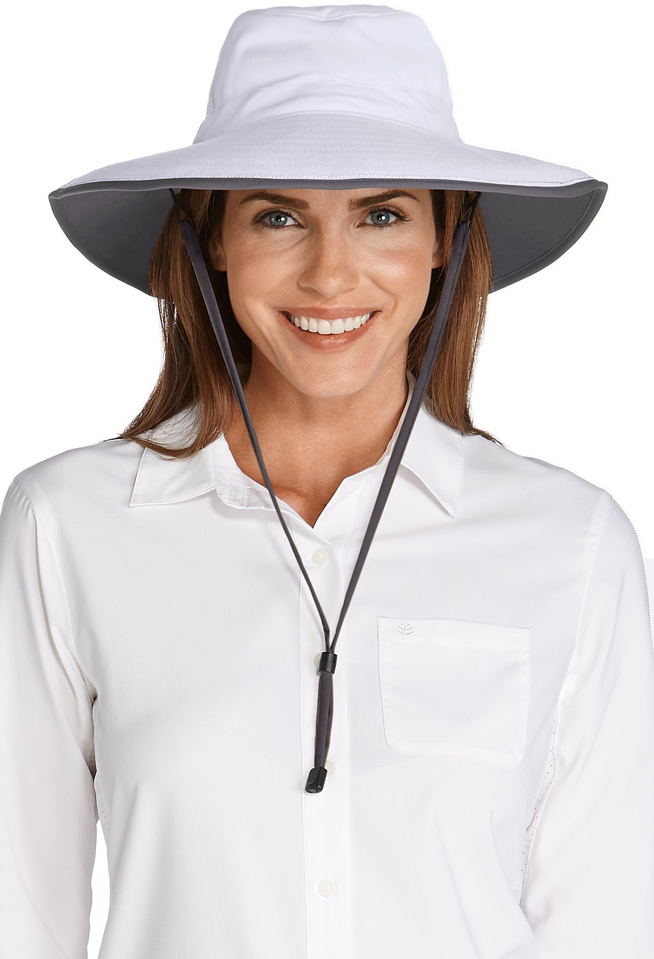 Coolibar UPF 50+ Women's Shapeable Sun Catcher Hat - Sun Protective , White/Carbon , One Size