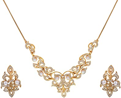310ddb53b5 Buy Sempre of London Victoria Pearl Necklace Set in CZ Crystal Diamonds  with Gold and Rhodium for Women Online at Low Prices in India | Amazon  Jewellery ...