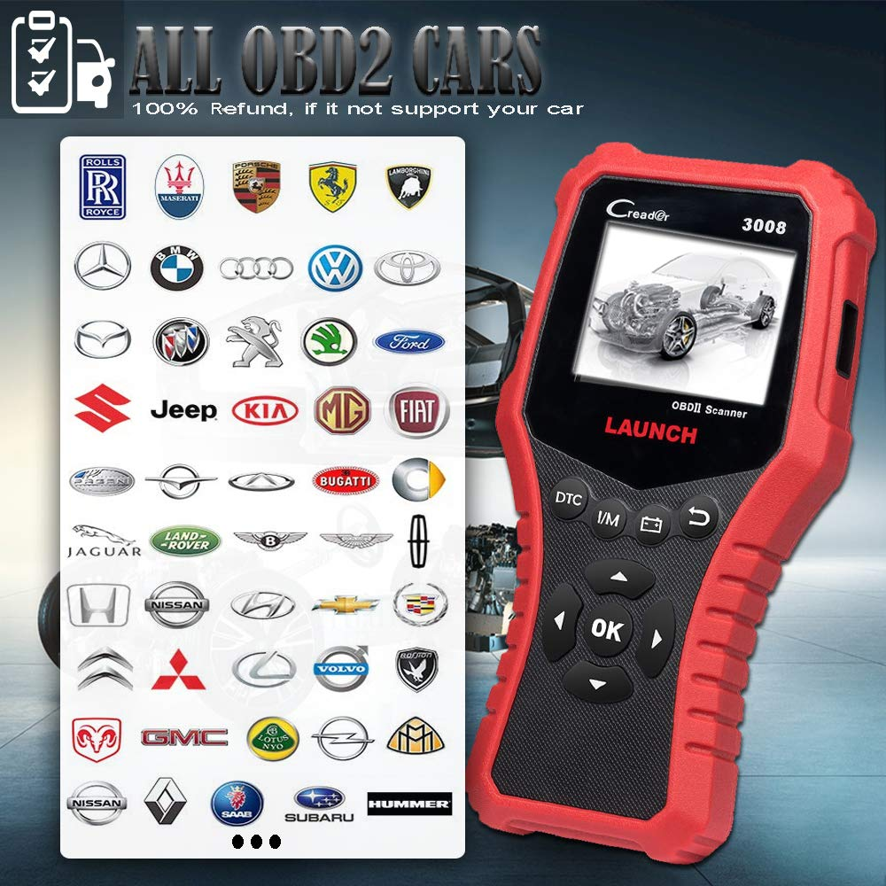 LAUNCH CRP3008 Creader 3008 Professional OBD2 Scanner Enhanced OBDII EOBD Code Reader, One-Key Check Engine Light I/M Readiness O2 Sensor Systems Battery Test Diagnostic Scan Tool-Free Update by LAUNCH (Image #3)