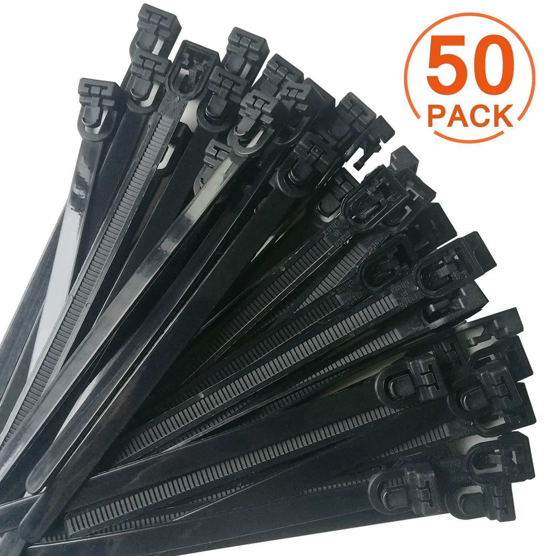 bridas con cremallera resistentes y mini correas flexibles para cables no solo para cables negro 50 piezas bridas reutilizables de nailon