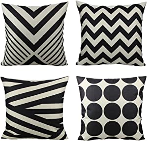 All Smiles 4-Pack Black Stripes Decorative Throw Pillow Case Accent Cushion Covers Outdoor Suqare Cotton Linen 18x18 for Sofa Paito Couch Bed Room,Geometric