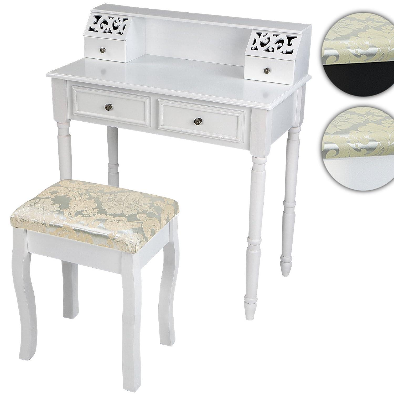 Miadomodo® Schminktisch Frisierkommode Kommode in weiß Sekretär inkl. Hocker in modern-viktorianischem Stil (ca. 80 40 93 cm)