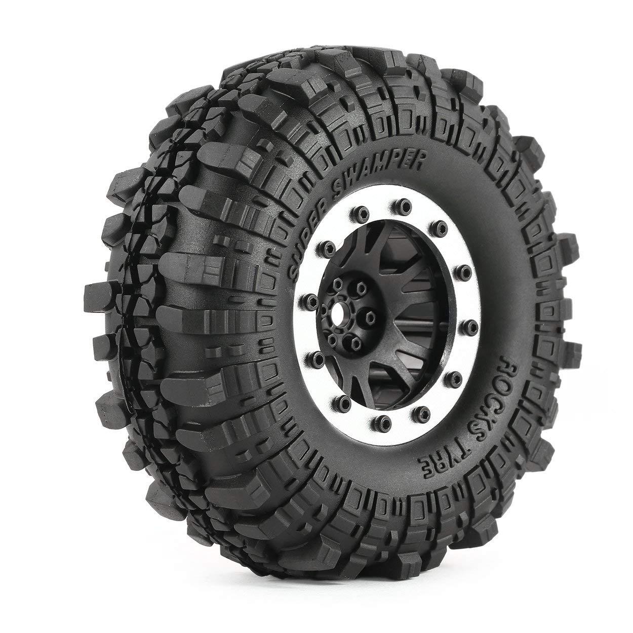 ClookYiit 4 pz AX 4020-1 110mm 1.9 in Gomma con Cerchi in Lega Beadlock per AXIAL SCX10 90046 RC4WD D90 1//10 RC Rock Crawler Car
