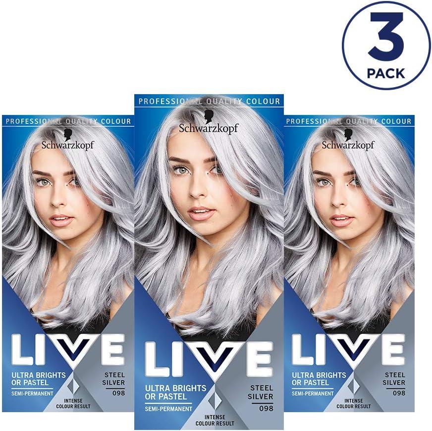 Schwarzkopf Live XXL Color ultra brillante, 098 Steel Silver, Pack de 3 unidades