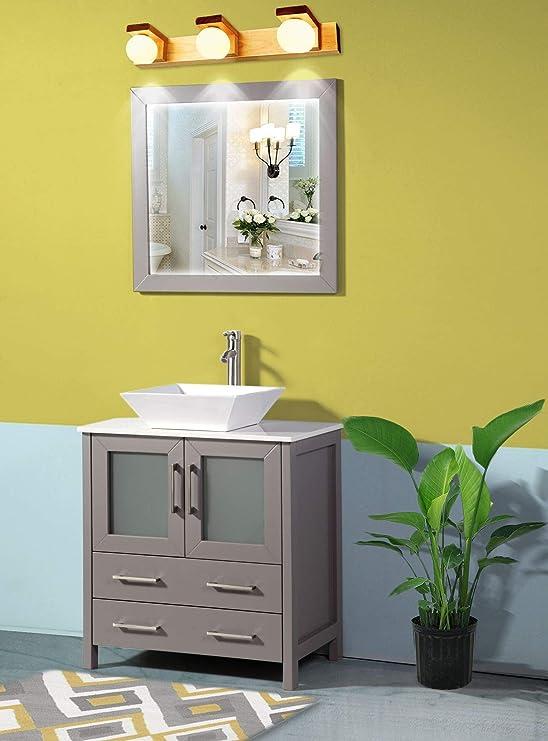 Amazon Com Vanity Art 30 Inch Single Sink Bathroom Vanity Set 1 Shelf 2 Drawers Quartz Top And Ceramic Vessel Sink Bathroom Cabinet With Free Mirror Va3130 G Kitchen Dining
