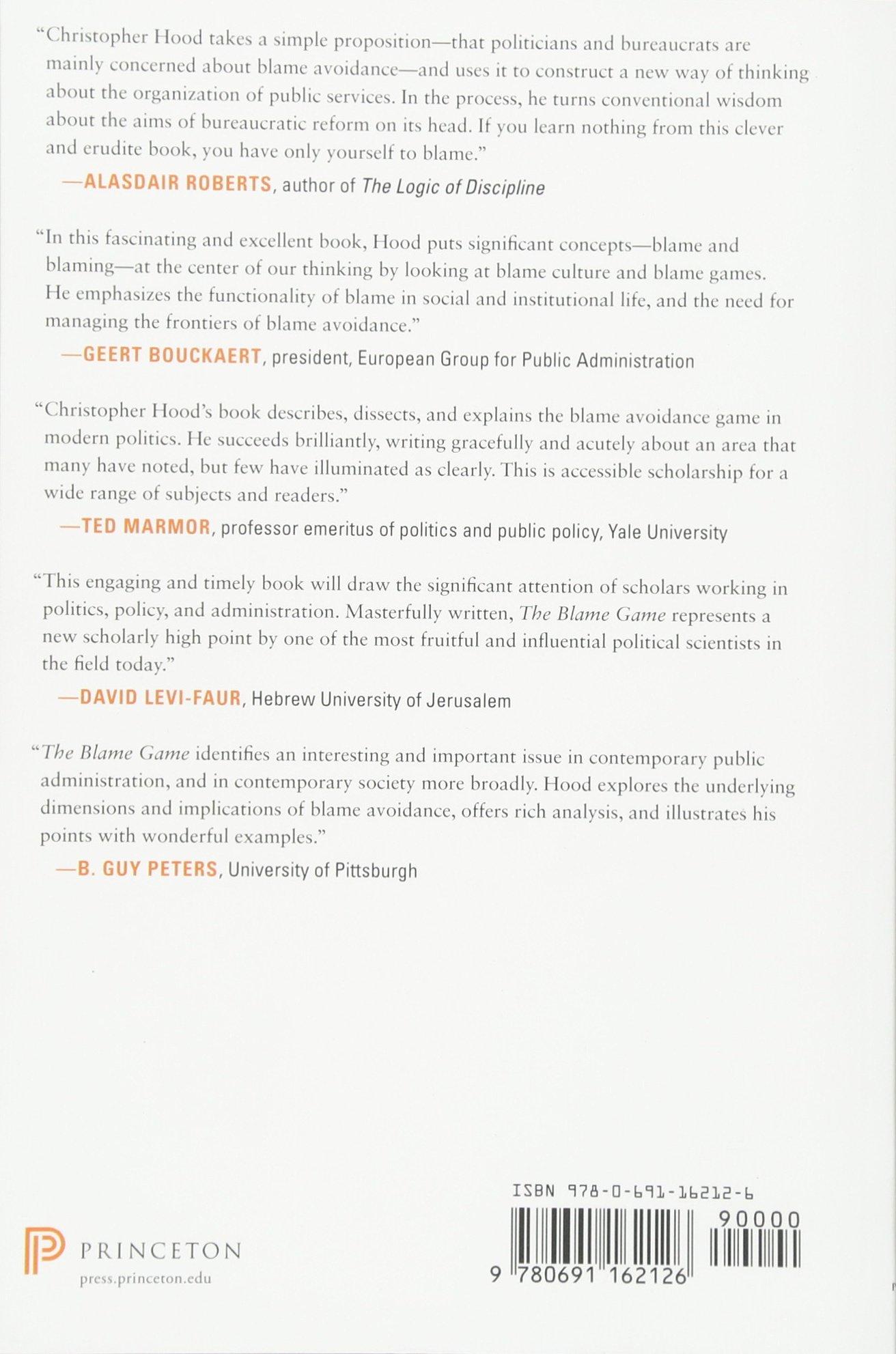 The Blame Game Amazon Christopher Hood 9780691162126 Books