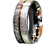Natural Deer Antler Ring Koa Wood Inlay - Unisex Mens Womens Wedding Band Stainless Steel Hunter Ring