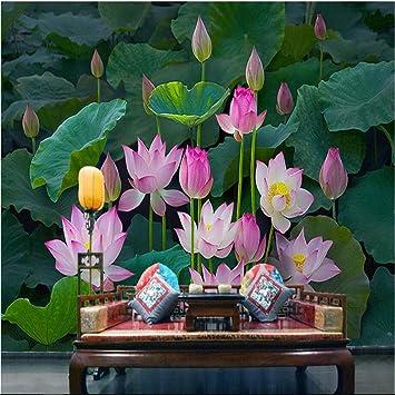 Papel tapiz Papel tapiz personalizado grande Zen clásico Lotus Lotus Pond Nuevo televisor chino Sala de estar Dormitorio Decoración del hogar 400Cm * 280Cm Paño de seda Huzi personalizable: Amazon.es: Bricolaje y