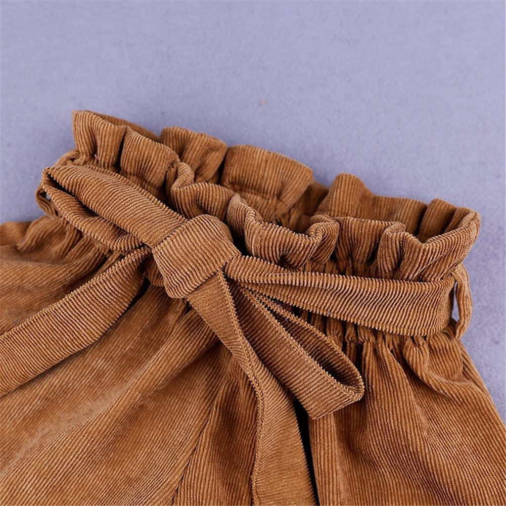 LOOLY Baby Girls Ruffle Elastic High Waist Bow Wide Leg Shorts with Belt