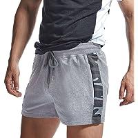 AIMPACT Mens Katoen Rugby Jersey Comfy Lounge Fitness Shorts Elastische Taille Korte Shorts met Rits Pocket voor Mannen