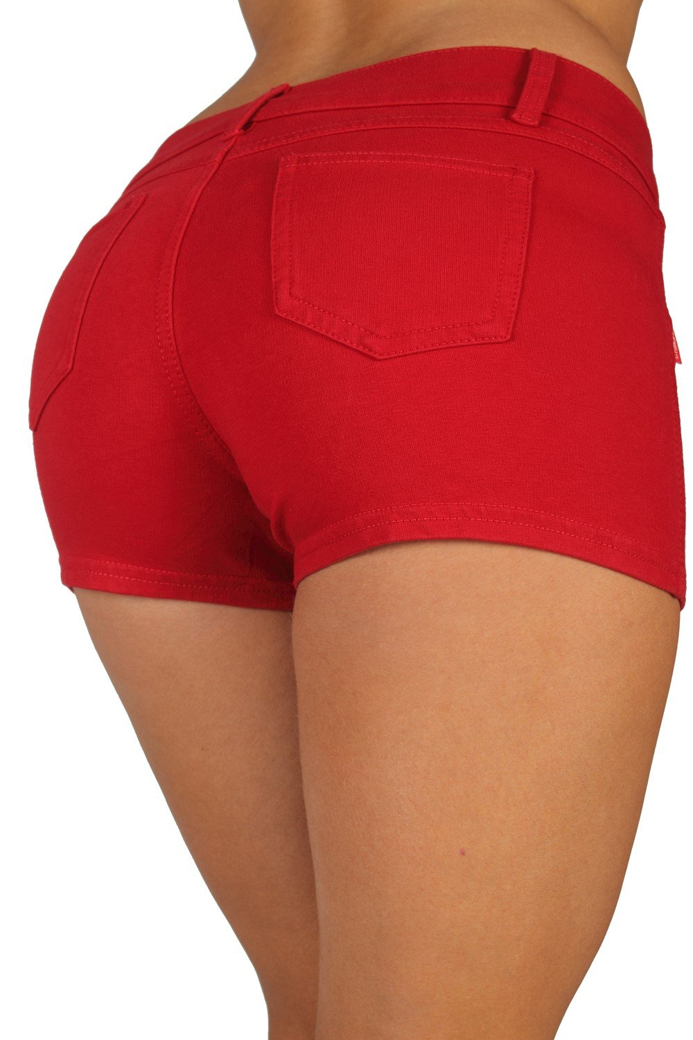 Basic Booty Shorts Premium Stretch French Terry Moleton With a gentle butt lifting stitching in Red Size M