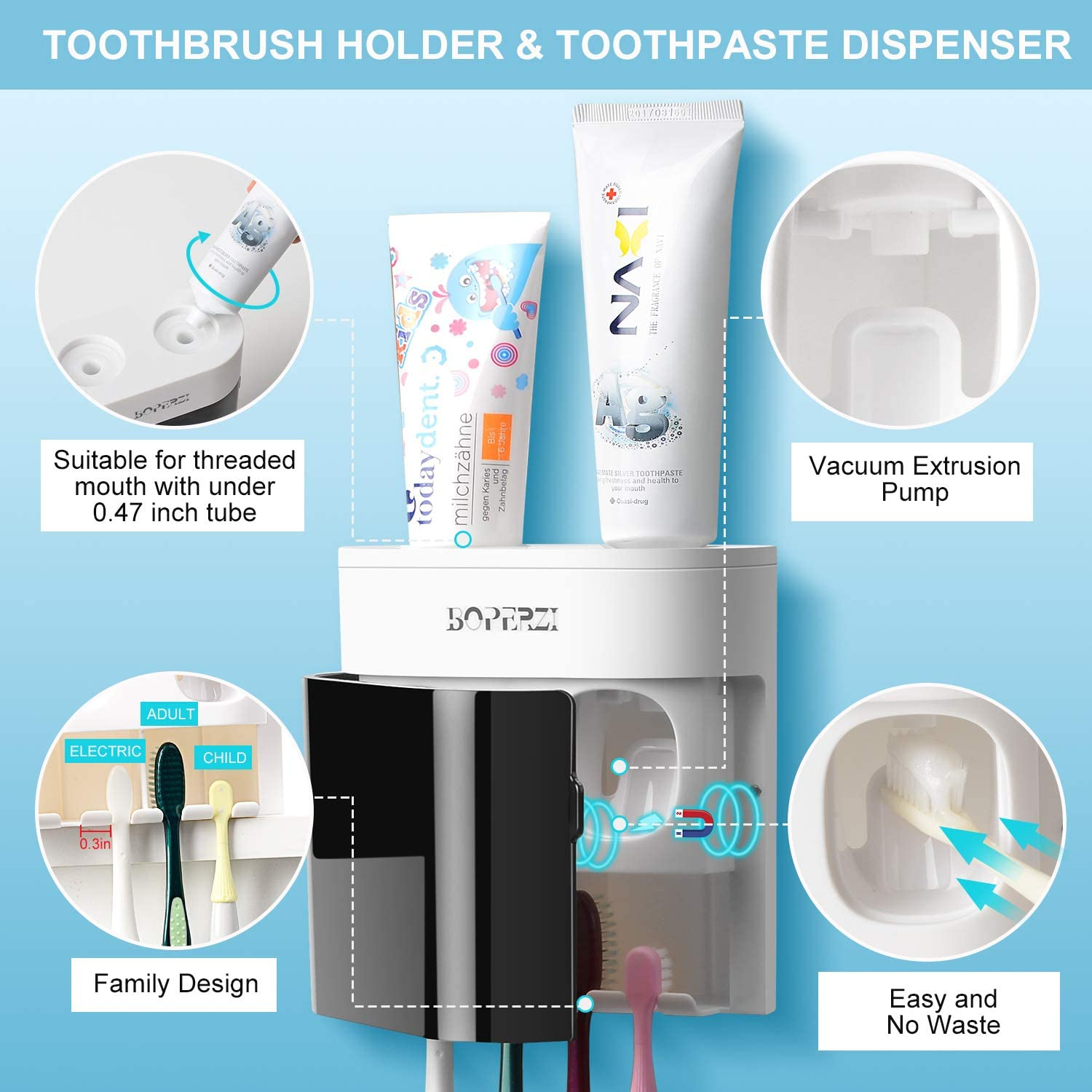 Boperzi Toothbrush Holder Wall Mounted Automatic Toothpaste Dispenser Dustproof Cover Electric Toothbrush Holder for Shower Bathroom Set with 2 Toothpaste Squeezers