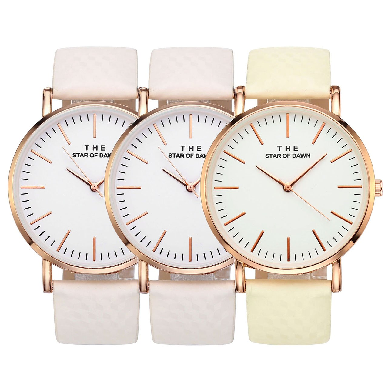 Top Plaza Women Fashion Simple Analogue Watches Solar Colour Changing Watch Colorful PU Strap Wrist Watch 3ATM Waterproof
