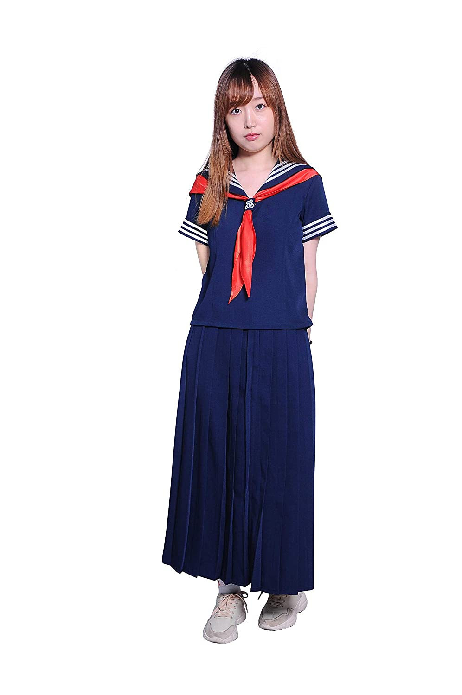 YIWASTAR:セーラー服半袖 高校生 ハロウィン コスプレ 制服 (S-5XL) スカート40センチ 60センチ 85センチ種類豊富 JK 上下セットコスチューム 男女兼用