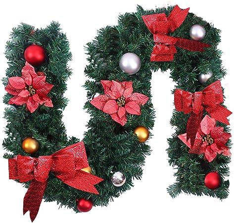 Surfmalleu Guirnaldas de Navidad Artificial Decoración Navideña para Chimeneas Árbol Jardín Corona de Pino sin Luz Christmas Decoracion(Rojo 1.8m): Amazon.es: Hogar