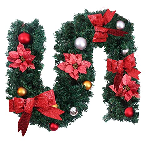 Surfmalleu Guirnaldas de Navidad Artificial Decoración Navideña para Chimeneas Árbol Jardín Corona de Pino con Luz