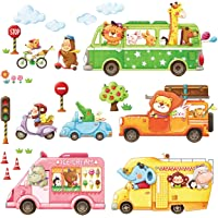 DECOWALL DA-1806 Animal Transports Kids Wall Stickers Wall Decals Peel and Stick Removable Wall Stickers for Kids…