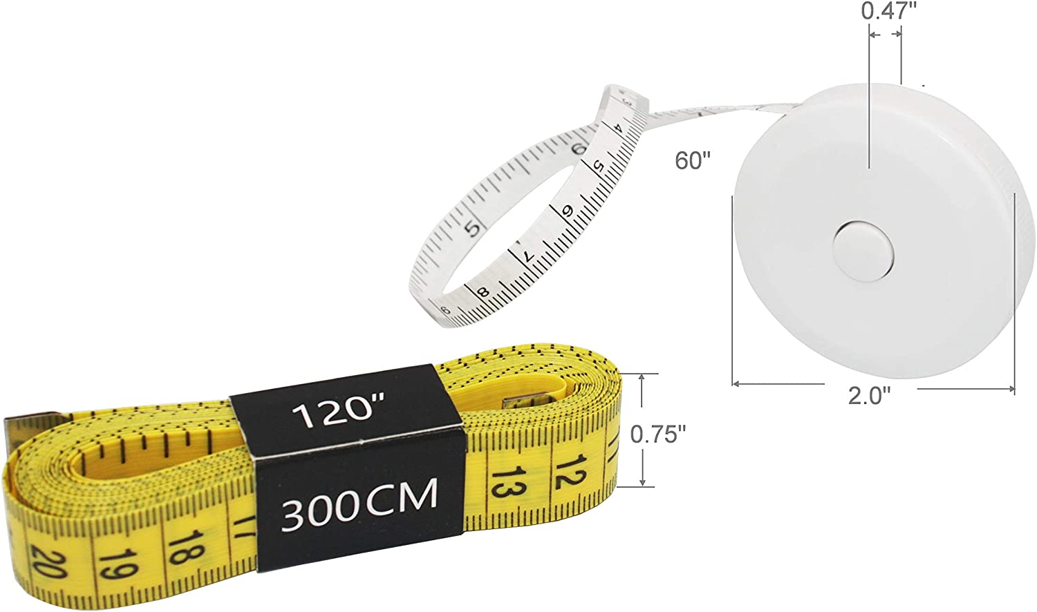 3 Packs White Soft Tape Measure 120 inches 300cm Sewing Ruler Tailor Hand Scale Body Cloth Shoes Crafts Flexible Measurement