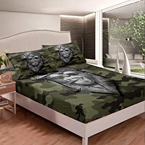 Erosebridal Monkey Kids Fitted Sheet Queen Size Camouflage Bed Sheet Military Helmet Sheet Set for Adult Man,Hippie Wildlife Bed Cover Wild Safari Theme Bedroom Decor Army Green