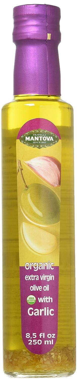 Mantova Garlic Organic Flavored Extra Virgin Olive Oil, Mantova Organic Flavored Mantova USDA Organic Extra Virgin Olive Oil, Cold-Pressed, Garlic, 8.5 Fl.Oz