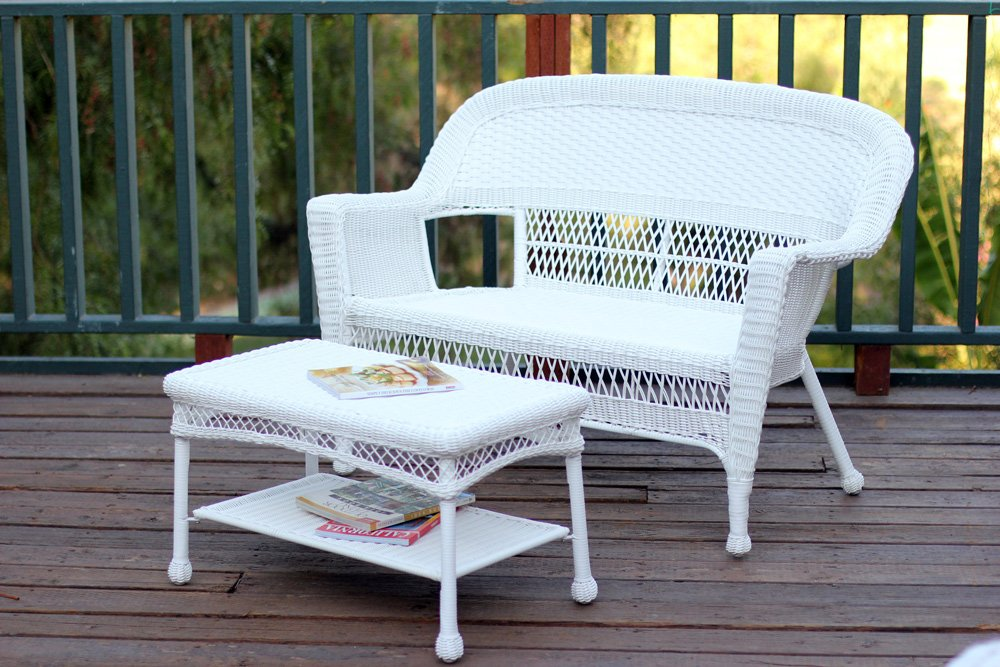 Jeco W00206-LCS Wicker Patio Love Seat and Coffee Table Set Without Cushion, White by Jeco