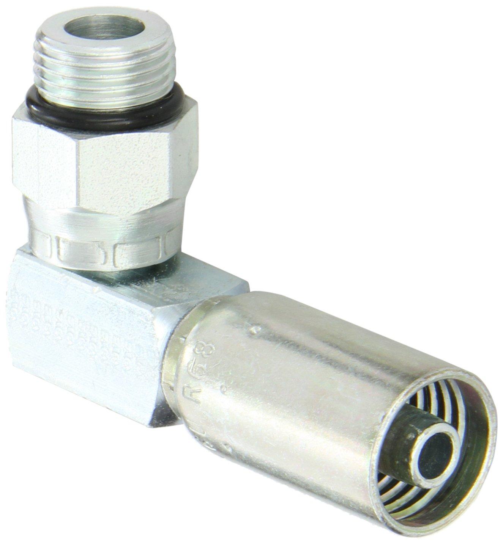 EATON Weatherhead Coll-O-Crimp 06U-R68 90 Degree Male Swivel Elbow Fitting, Straigh Thread O-Ring, Low Carbon Steel, 3/8' Hose ID, 1/2' Tube Size 3/8 Hose ID 1/2 Tube Size
