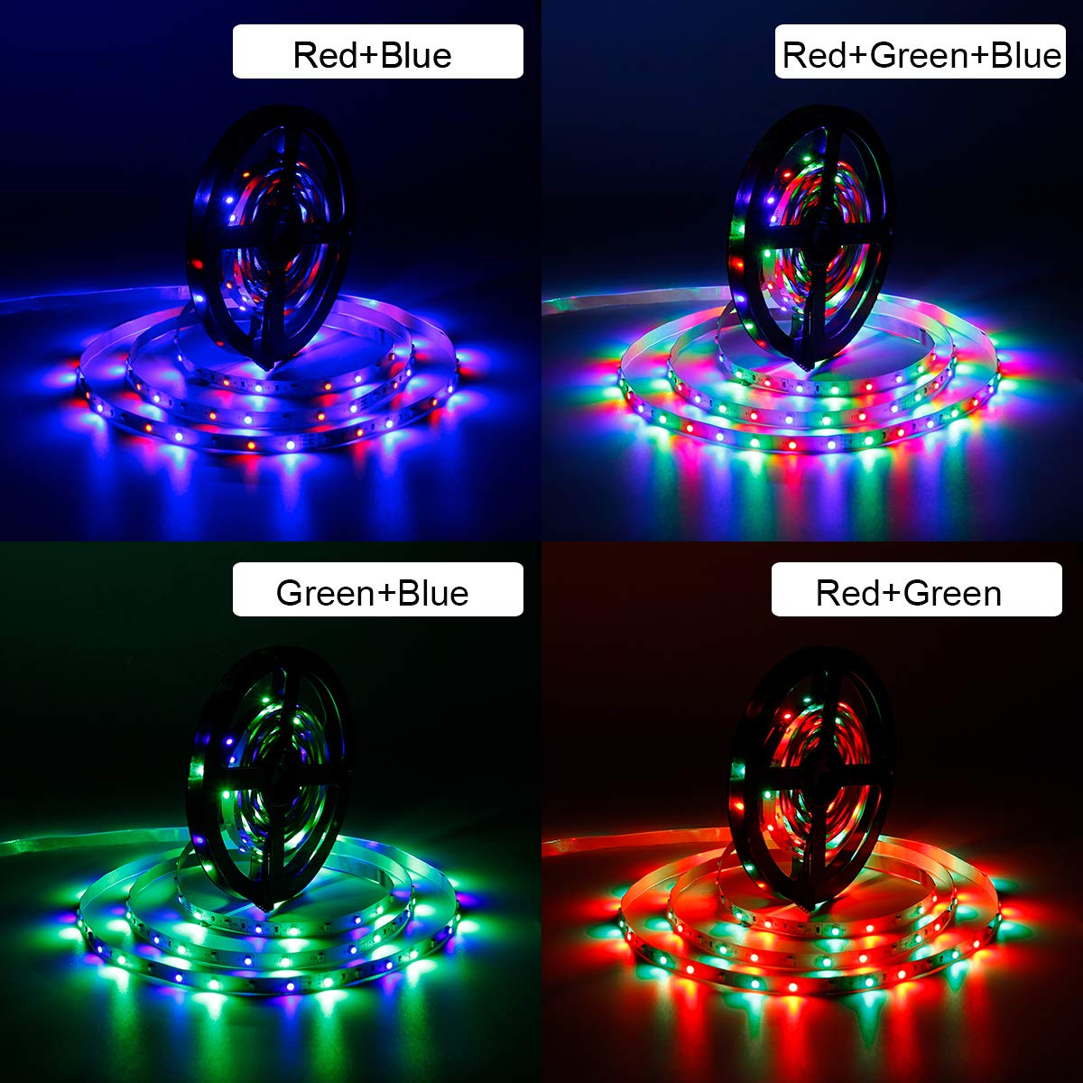 SUPERNIGHT 5M/16.4 Ft SMD 3528 RGB 300 LED Color Changing Kit with Flexible Strip Light+24 Key IR Remote Control+ Power Supply by SUPERNIGHT (Image #3)