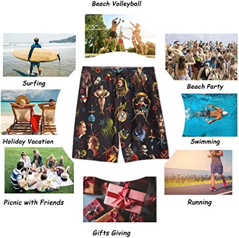 KATERN Uomo Costume da Bagno,Tattoo Texture Eps 9,Quick Dry Pantaloncini da Spiaggia Stampato Swim Trunks M