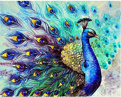 DIY Paint by Numbers Kit for Adults Peacock Green Blue Paint by Numbers Landscape Scene Paintings Arts Craft for Home Wall Decor 24 Acrylic Paints 20x16 Pre-Printed Art-Quality Canvas 3 Brushes