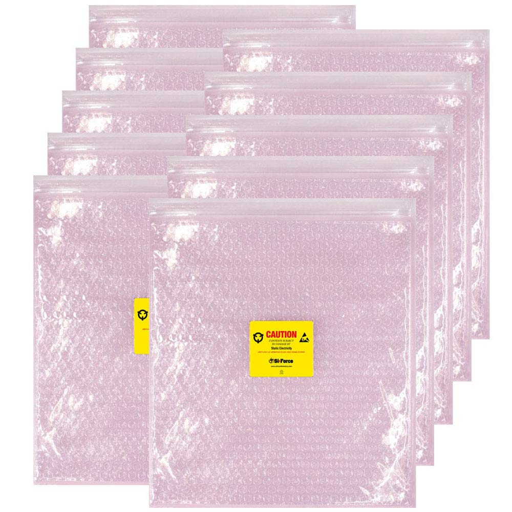 Anti Static Bubble Bags, Resealable Static Shielding Bag, Reusable for Sensitive Electronic Components (XX-Large Qty 10, Pink)