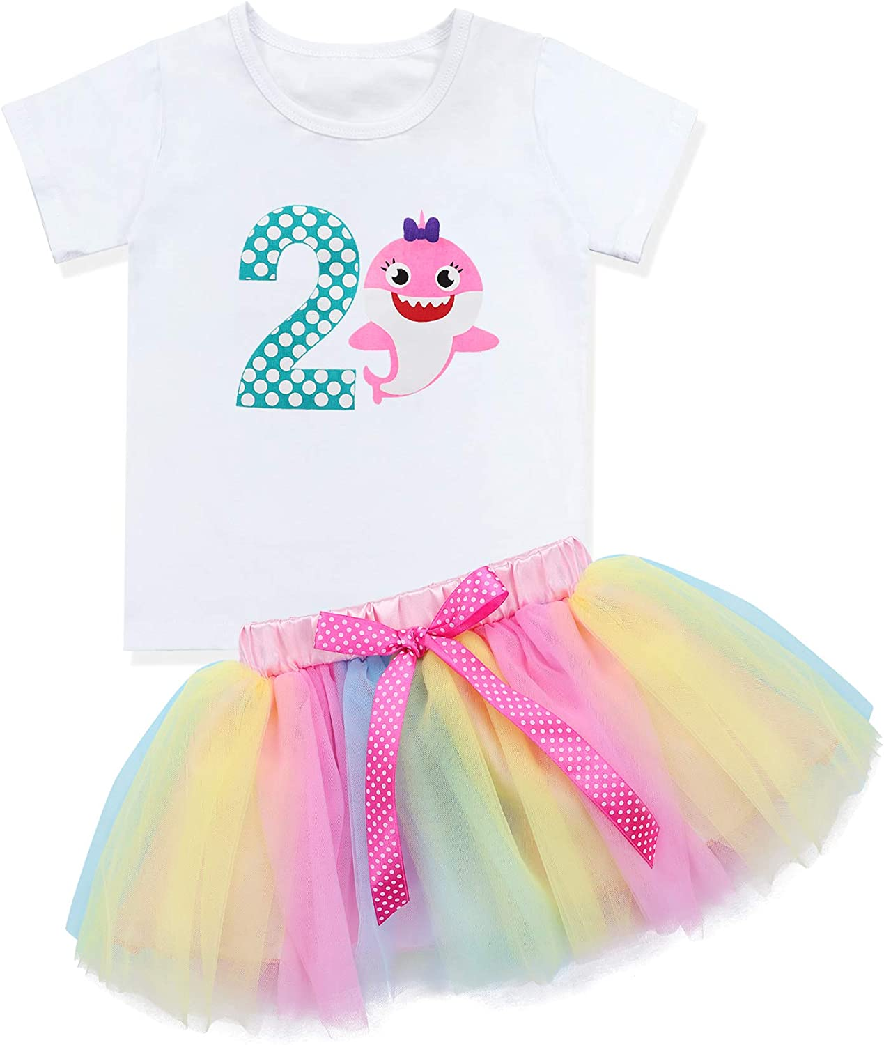 Baby Girls Birthday Shark and Doo Doo Doo Romper + Tutu Dress 1st Birthday Outfit Set