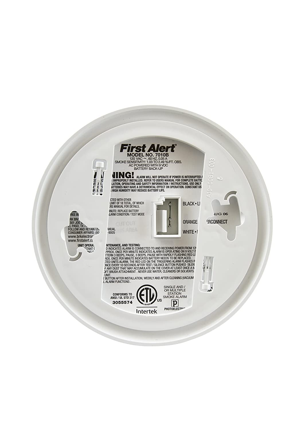 First Alert Brk 7010b Hardwire Smoke Alarm With Detector Wiring Diagram Photoelectric Sensor And Battery Backup Home Improvement