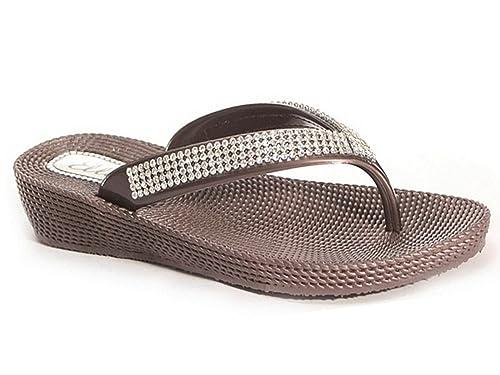 Damen flache Zehentreter von Ella S1mit Zehensteg, Flip Flop Sommer Sandalen, Größe 3