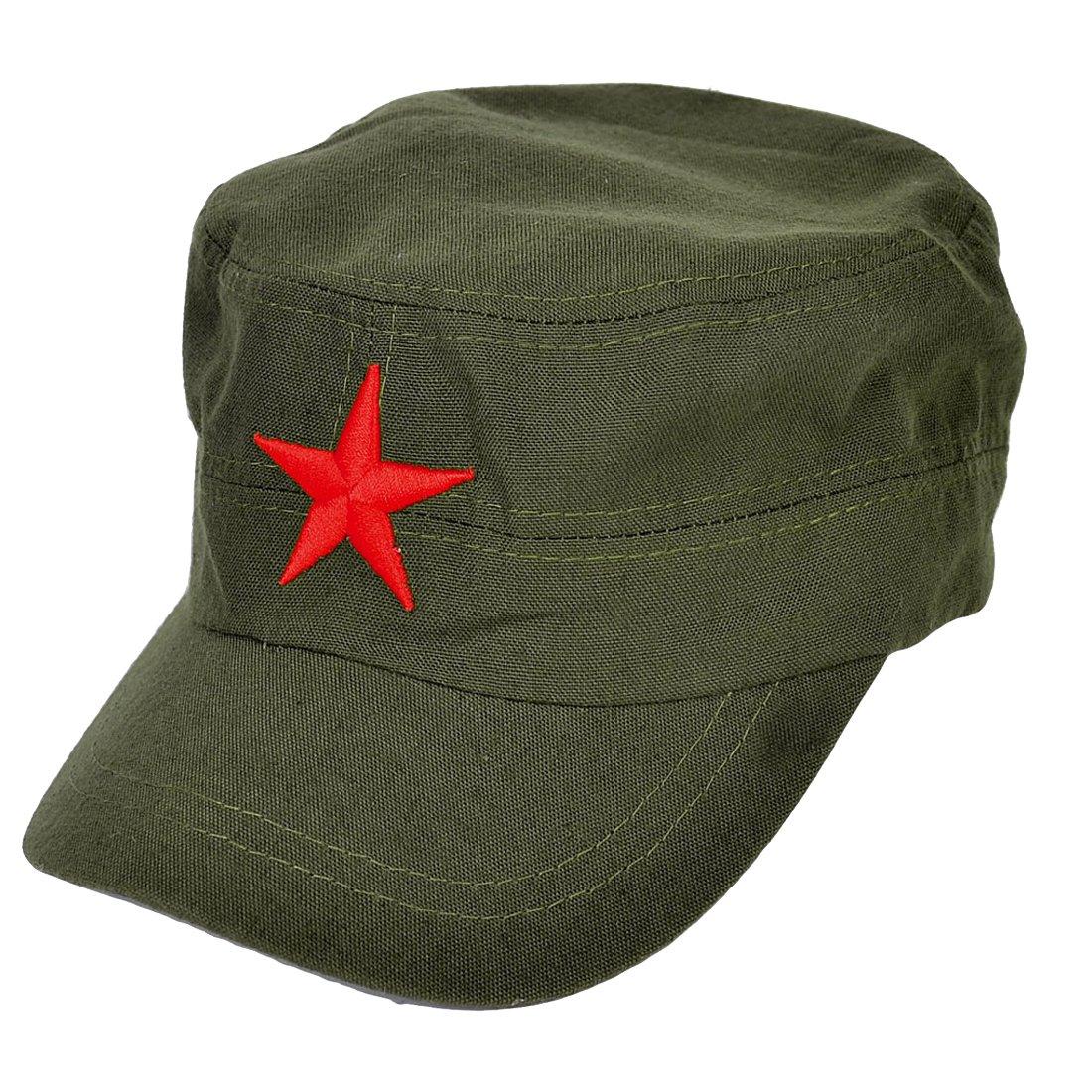 sourcingmap Uomo Camionista Rosso Stella Dettaglio Sole Visiera Baseball Cappuccio Cappello Militare Verde