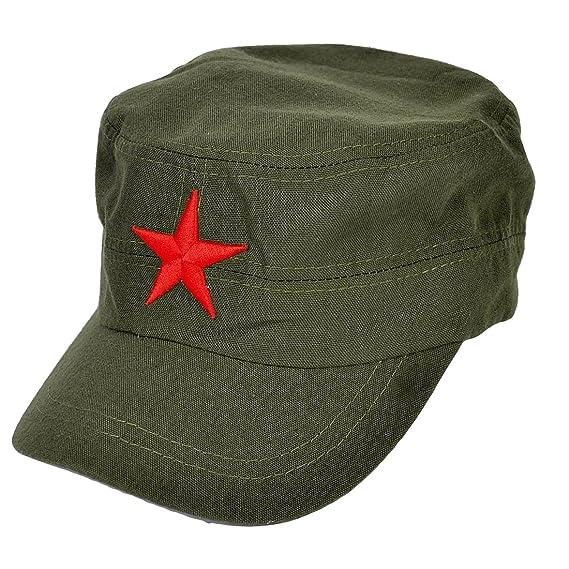 sourcingmap Uomo Camionista Rosso Stella Dettaglio Sole Visiera Baseball  Cappuccio Cappello Militare Verde  Amazon.it  Fai da te 5283104dde7a