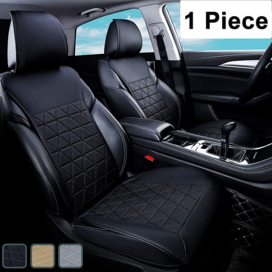 kingphenix Car Seat Cover - 1 Piece - Luxury Leather Car Seat Covers Front Seats Only - Universal Non-Slip Auto Seat Cover for 95% of Car Seats - Black