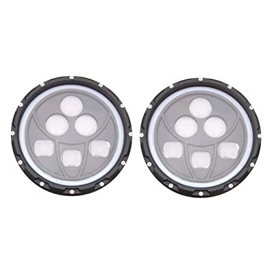 "ANR Jeep 7"" LED Black Headlight Set With White Halo Angel Eye Ring DRL & Amber Turn Signal Lights fits Jeep Wrangler JK LJ CJ Hummer REPLACES ANY 7"" HEADLIGHT - 2020 Addition: Automotive"