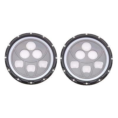 "ANR Jeep 7"" LED Black Headlight Set With White Halo Angel Eye Ring DRL & Amber Turn Signal Lights fits Jeep Wrangler JK LJ CJ Hummer REPLACES ANY 7"" HEADLIGHT - 2020 Addition: Automotive"