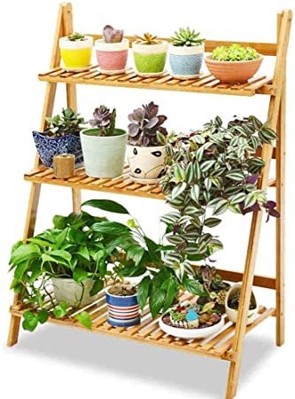 GJX- Estante para Flores Soporte para Flores De Bambú Escalera para Flores Interior Plegable Soporte para Macetas Exterior Jardín Decorativo: Amazon.es: Hogar
