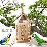 Bird Feeder Bird feeders Stations Hanging Wild Bird Feeder for The Garden with Decoration Hexagonal Shaped with Roof