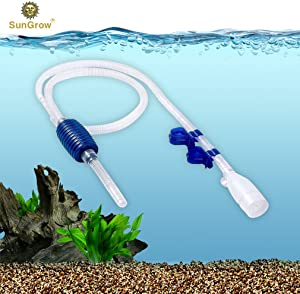 Aquarium Gravel Cleaner with Clips, Quick & Easy Assembly, Long Nozzle Manual Water Pump, Great for Frequent Water Changes, Fish Tank Cleaning Kit for Saltwater and Freshwater