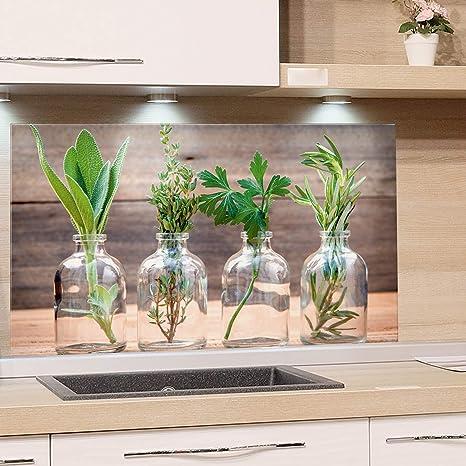 GRAZDesign Küchenrückwand Glas-Bild Spritzschutz Herd Edler Kunstdruck  hinter Glas Bild-Motiv Gewürze Eyecatcher für Zuhause / 80x40cm